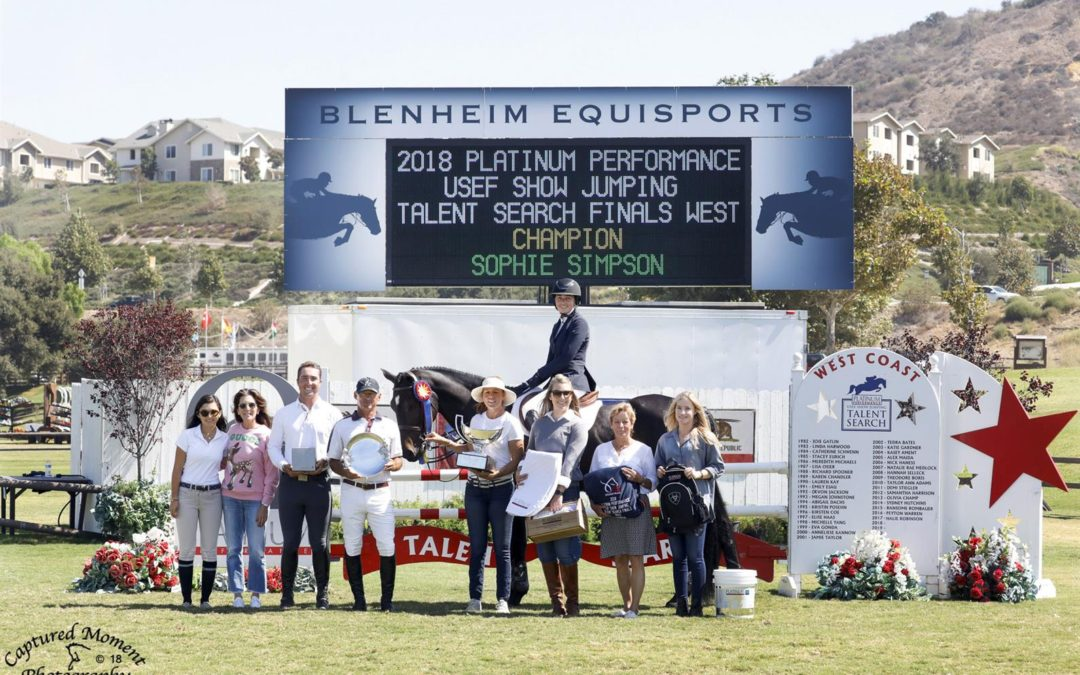 Sophie Simpson Captures the Win in the 2018 Platinum Performance/USEF Show Jumping Talent Search Finals – West